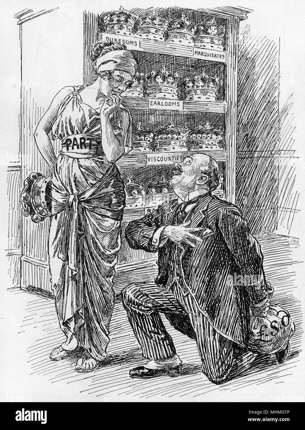 HOUSE OF LORDS cartoon regarding the sale of honours       Date: 1922 Stock Photo