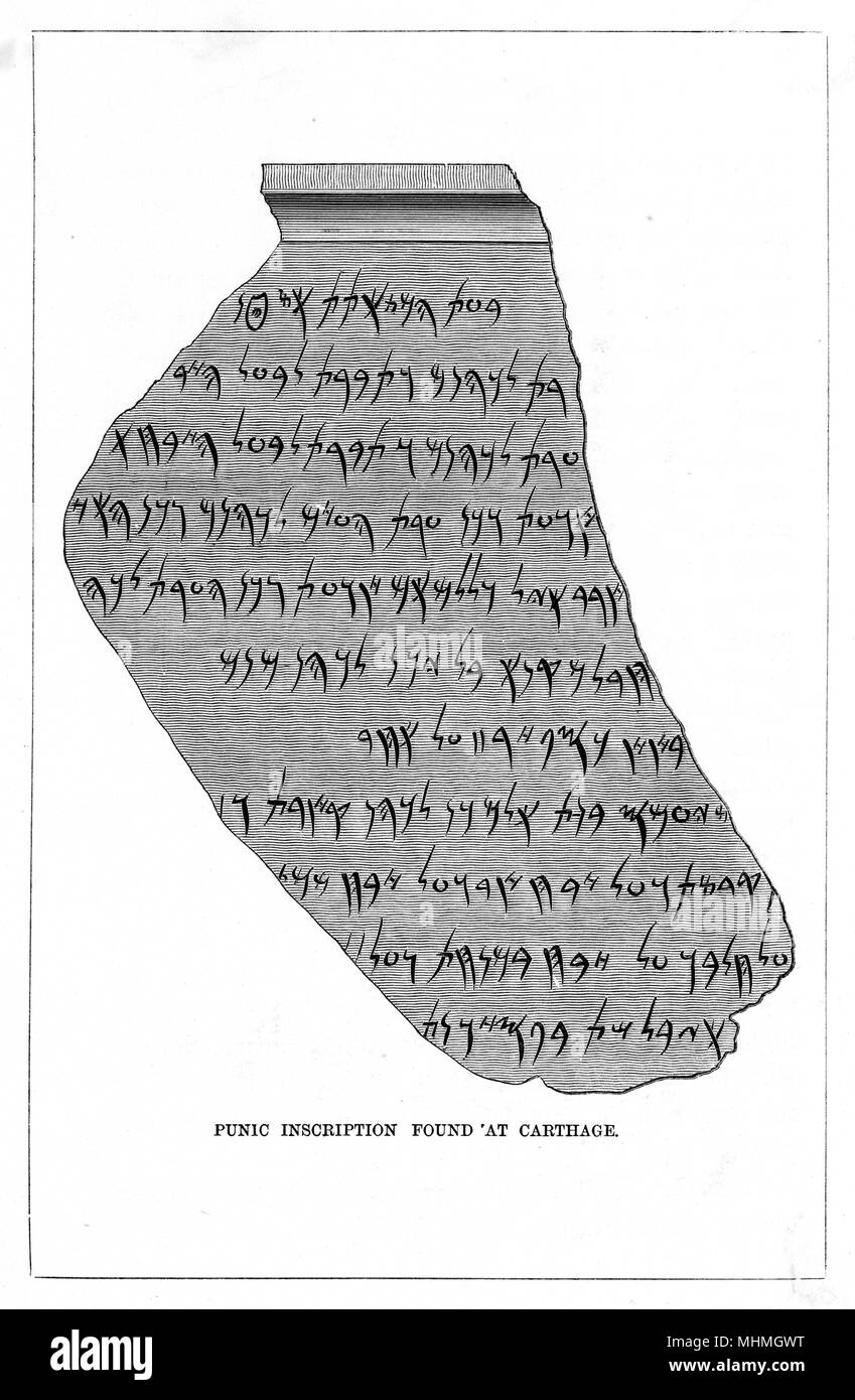 Punic inscription found at Carthage - Stock Image