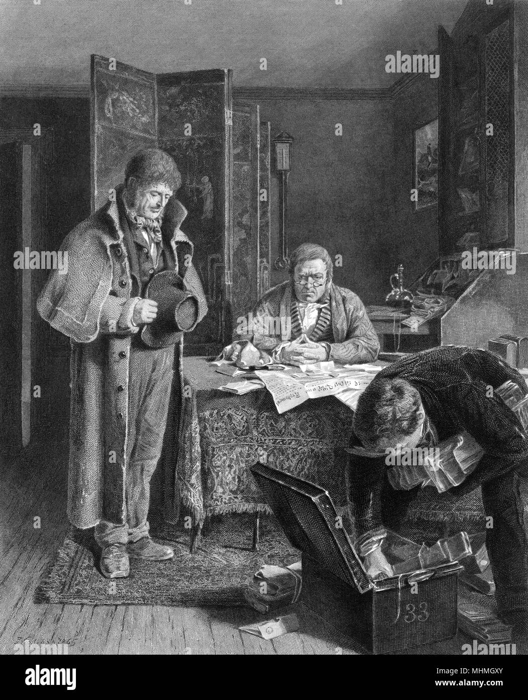 Awkward scene at lawyers office as farmer is refused renewal of his lease       Date: 1865 - Stock Image