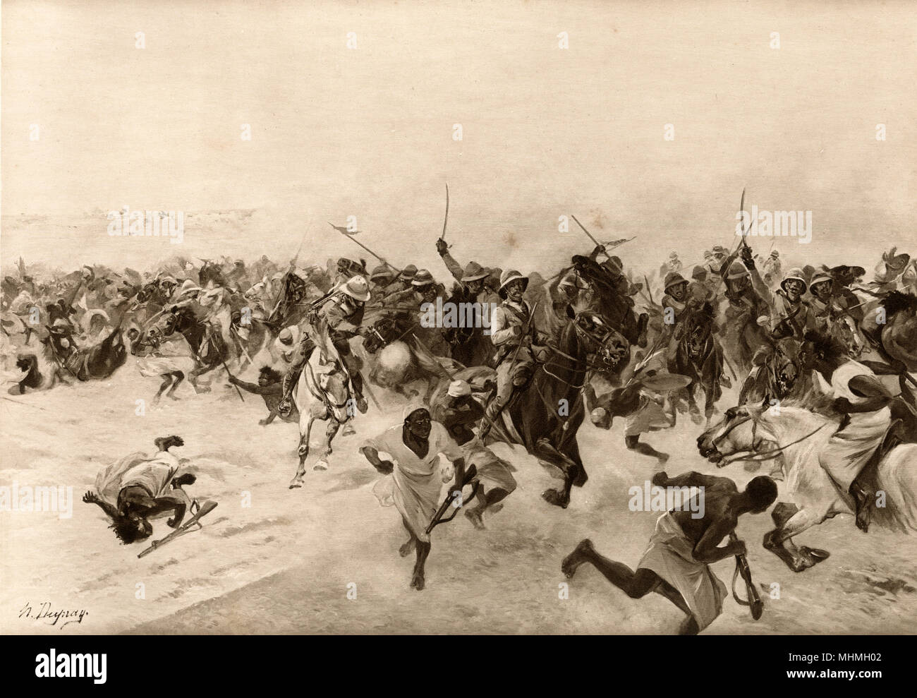 BATTLE OF OMDURMAN : the charge of the Lancers       Date: 2 September 1898 - Stock Image
