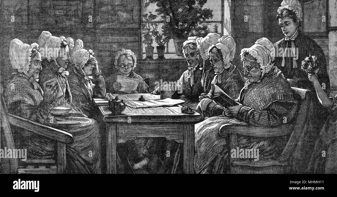 Old ladies well cared for - more fortunate than some !       Date: 1886 - Stock Image