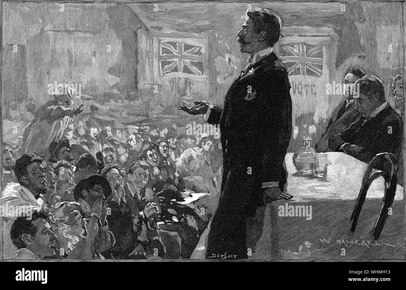 A political meeting in progress in Ireland during elections, union flags displayed prominently on the wall - the candidate tries to speak in a hostile atmosphere     Date: 1893 - Stock Image