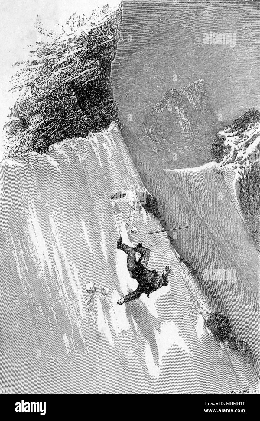 Whymper slips and falls on the Matterhorn ; though badly cut and in danger, he escapes serious injury      Date: 1861 - Stock Image