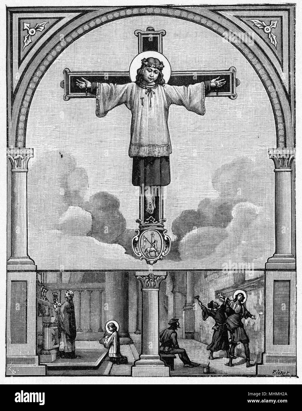 SAINT DOMINQUE OF VAL - on a crucifix after allegedly being murdered by jews in Saragosa.      Date: 1170-1221 - Stock Image