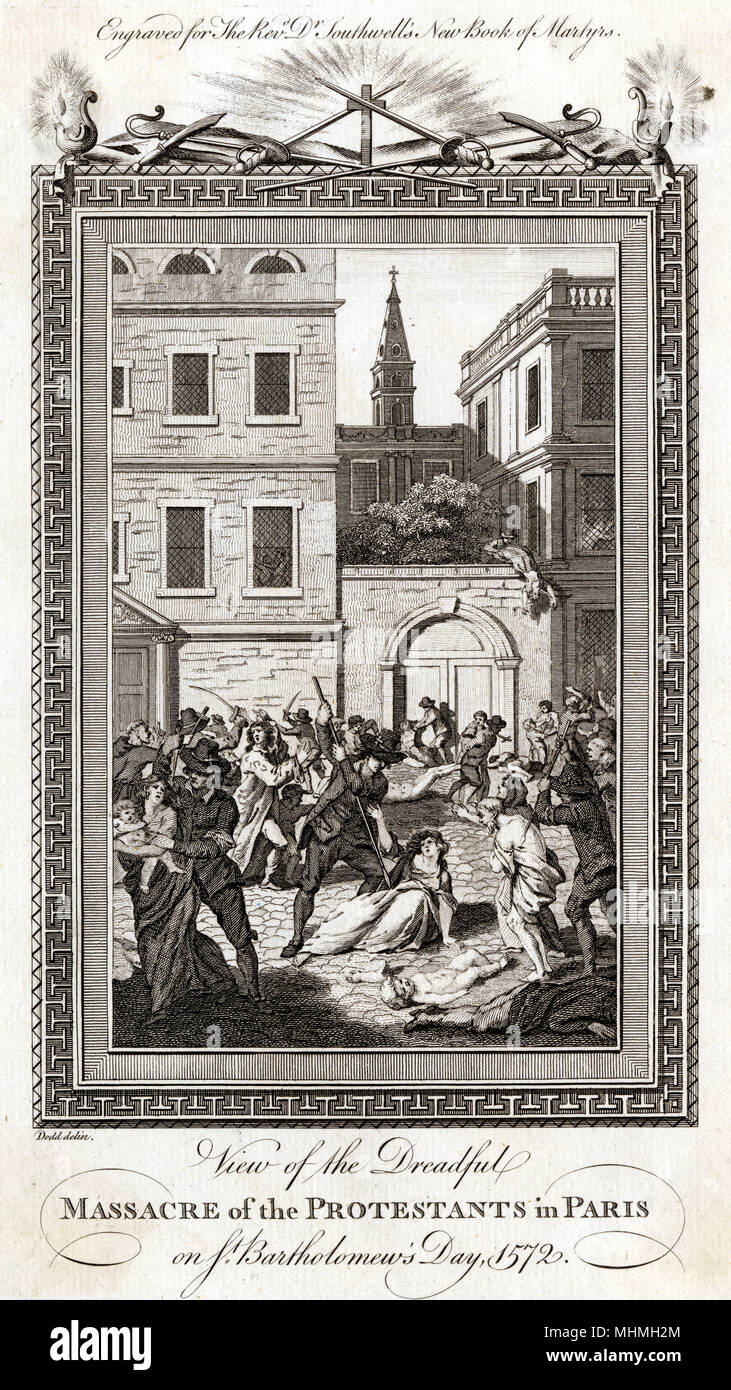 ST BARTHOLOMEW'S DAY MASSACRE Catherine de' Medici's plan to assassinate Coligny fails, so she resolves to have all the Huguenot leaders killed.     Date: 1572 - Stock Image