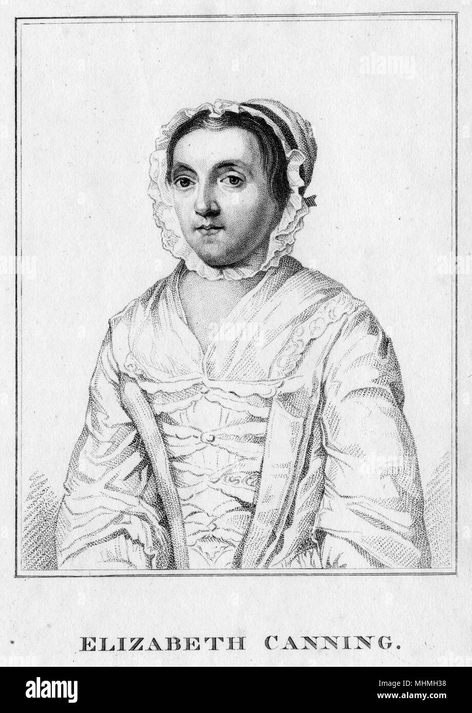 Elizabeth Canning, imposter and false accuser of kidnap. Indicted at the Old Bailey in 1754 for wilful & corrupt perjury, in swearing that she had been robbed by M. Squires     Date: 1734 - 1773 - Stock Image