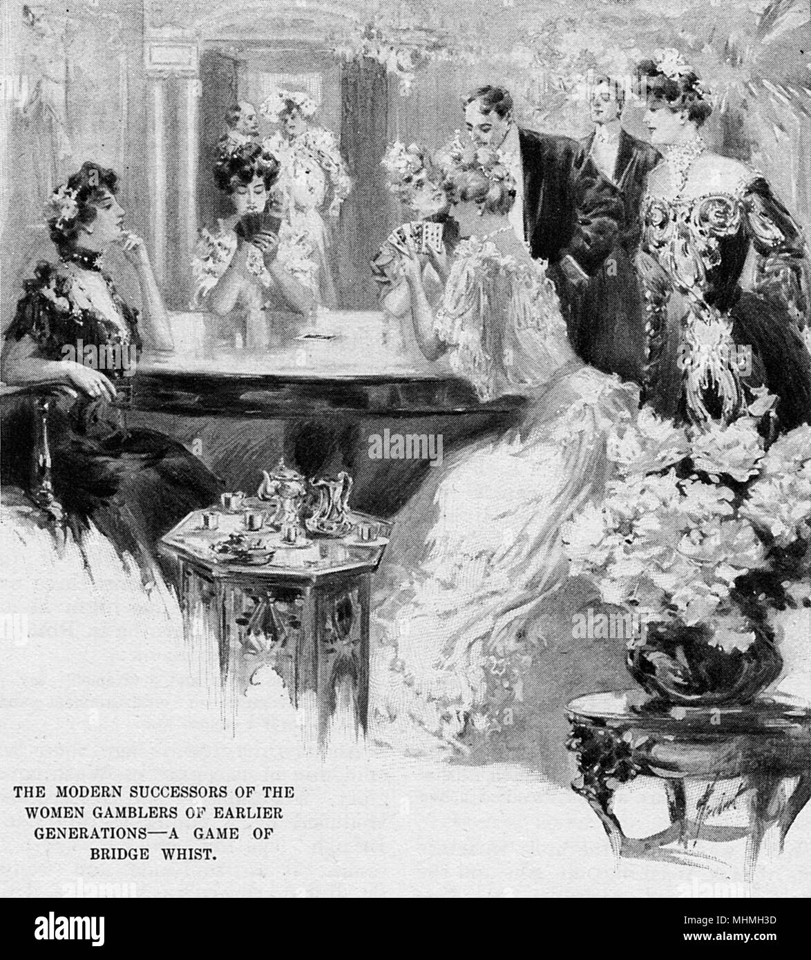 BRIDGE The modern successors of the women gamblers of earlier generations - a game of Bridge Whist.     Date: 1903-4 - Stock Image