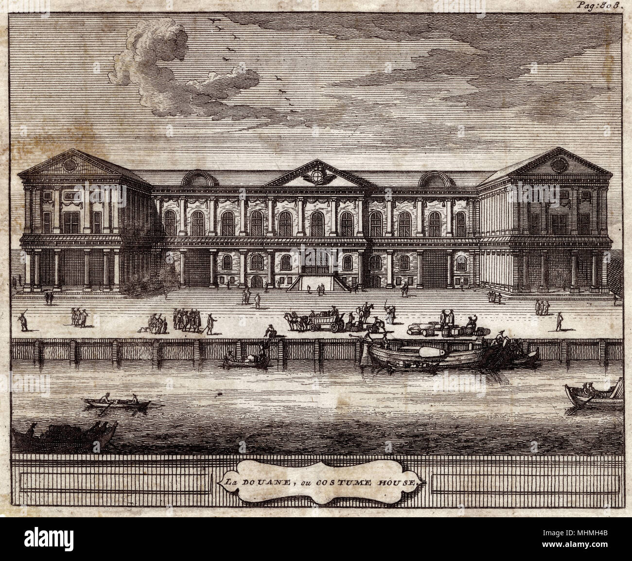 Wren's Custom House, prior to the fire of 1718.       Date: Circa 1710 - Stock Image