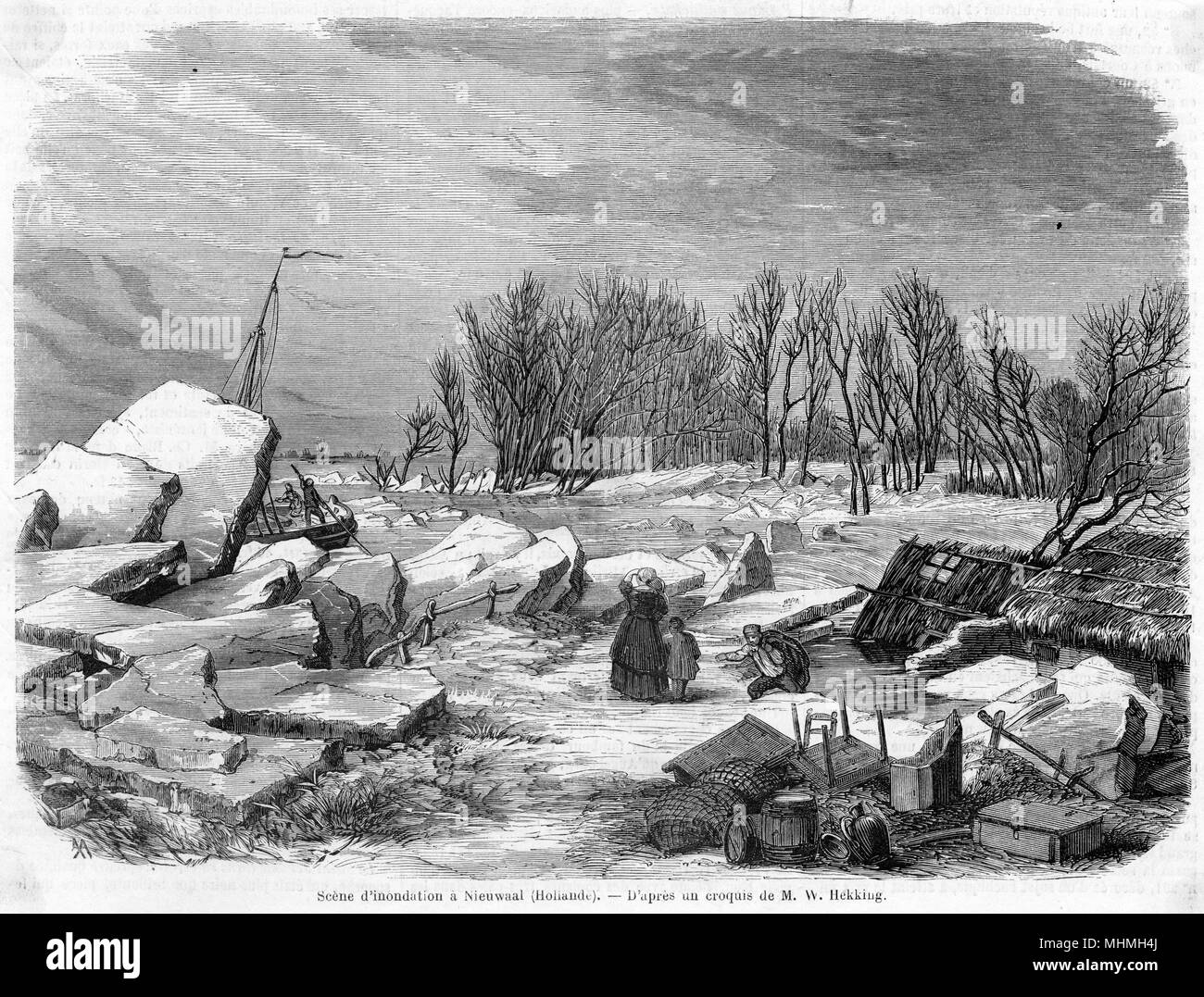A scene of flooding at Nieuwaal in Holland - a few possessions have been rescued from flooded homes      Date: 1861 - Stock Image