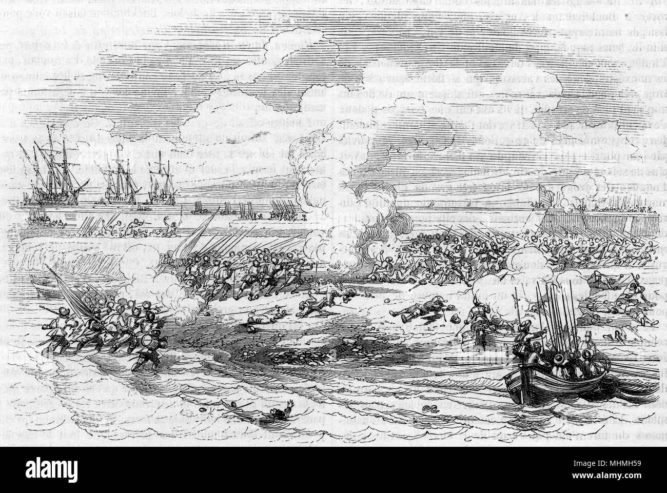 The defeat of the English forces during the siege of La Rochelle.       Date: 1627 - Stock Image