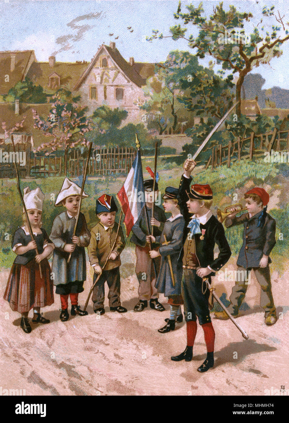 A budding Bonaparte invites his troops to salute the tricouleur, waving his sword while a bugler blows      Date: circa 1880 - Stock Image