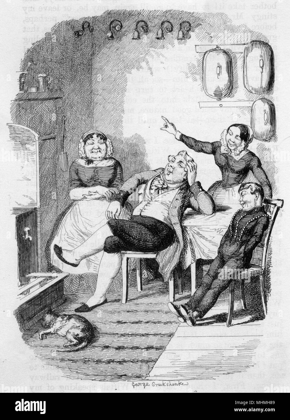 In the servants' hall - 'Oh ah ! Let 'em ring again !'       Date: 1849 - Stock Image