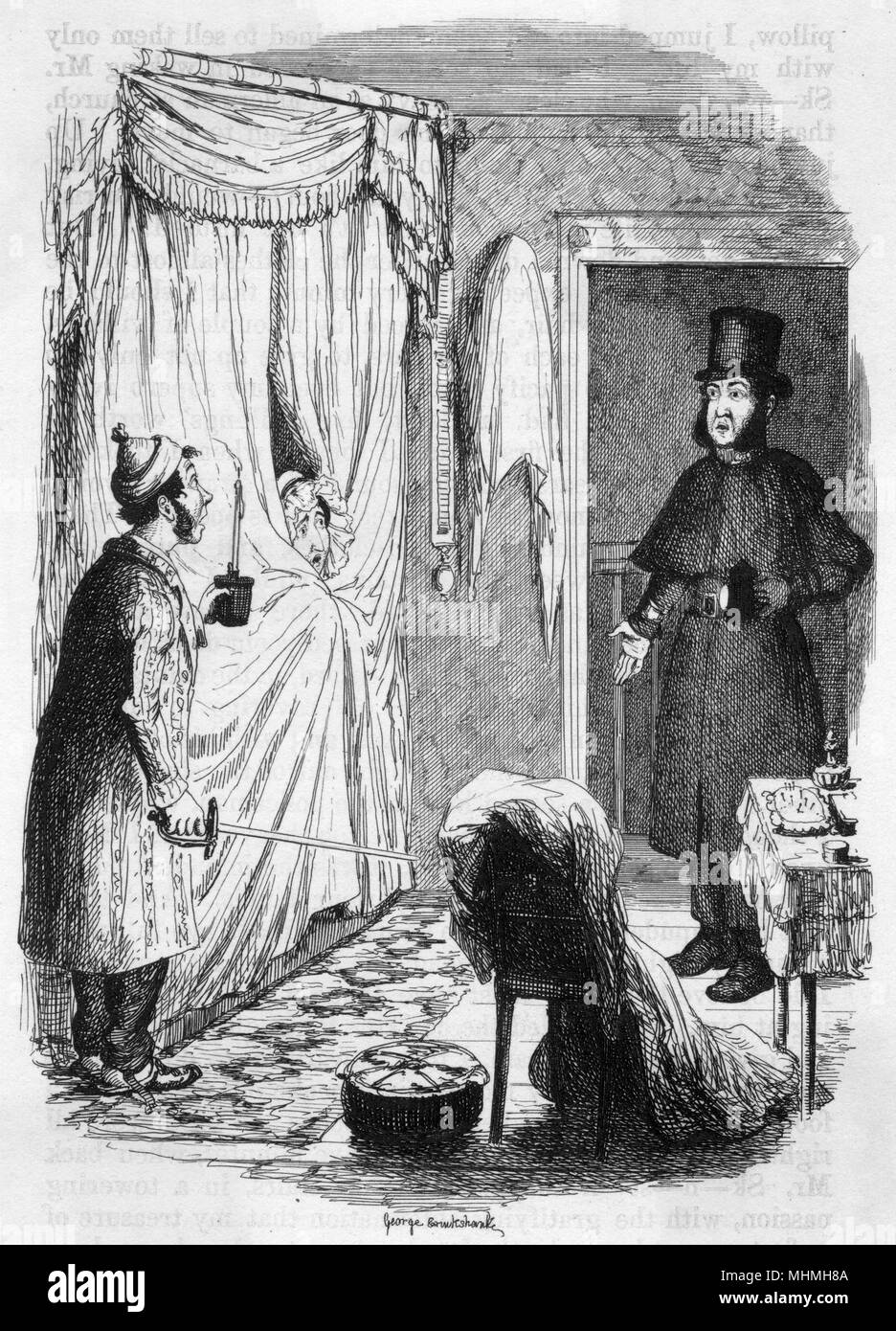 'Do you know as your street- door is open ?' - a policeman on night duty notices servants' carelessness      Date: 1849 - Stock Image