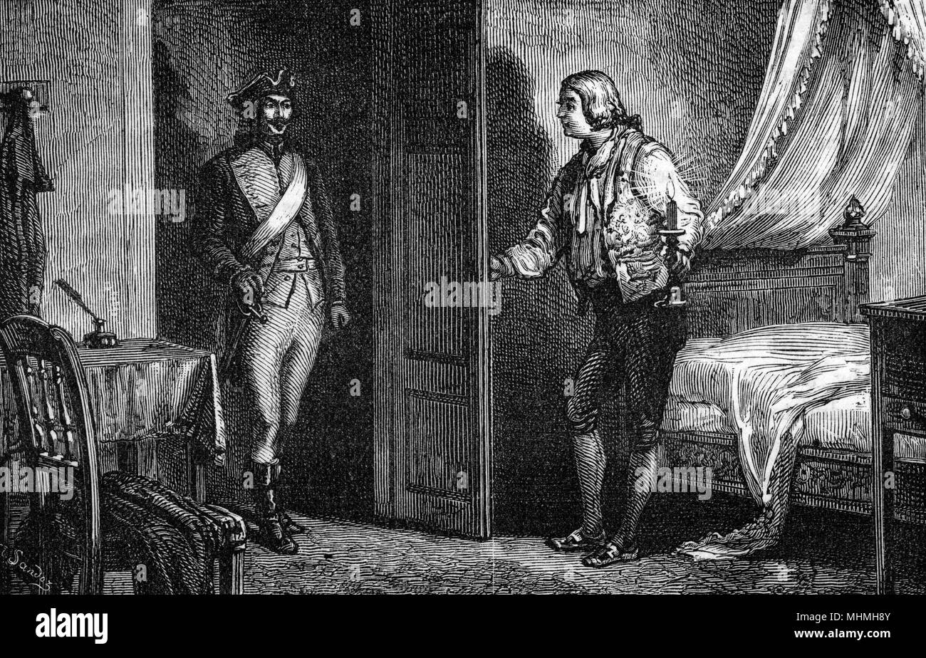 John Howard (1726-1790), investigating the French penal system, is visited by an officer of the Prefecture       Date: circa 1775-79 - Stock Image