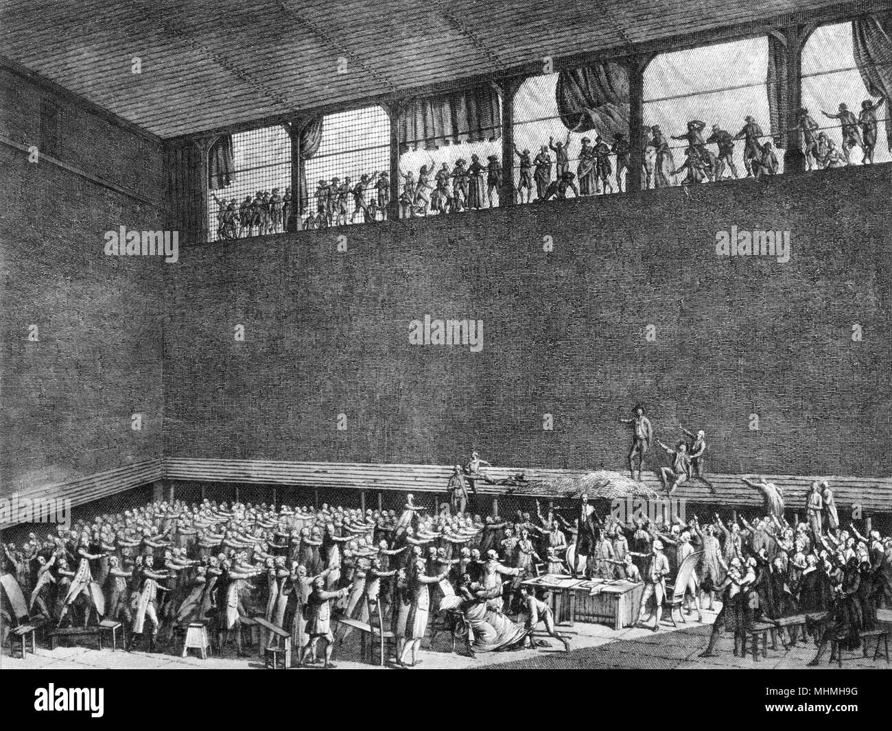 THE TENNIS COURT OATH Excluded from the Assemblee, the Third Estate gather in the Jeu de Paume at Versailles, and swear to act together to obtain a fair constitution     Date: 20 June 1789 - Stock Image