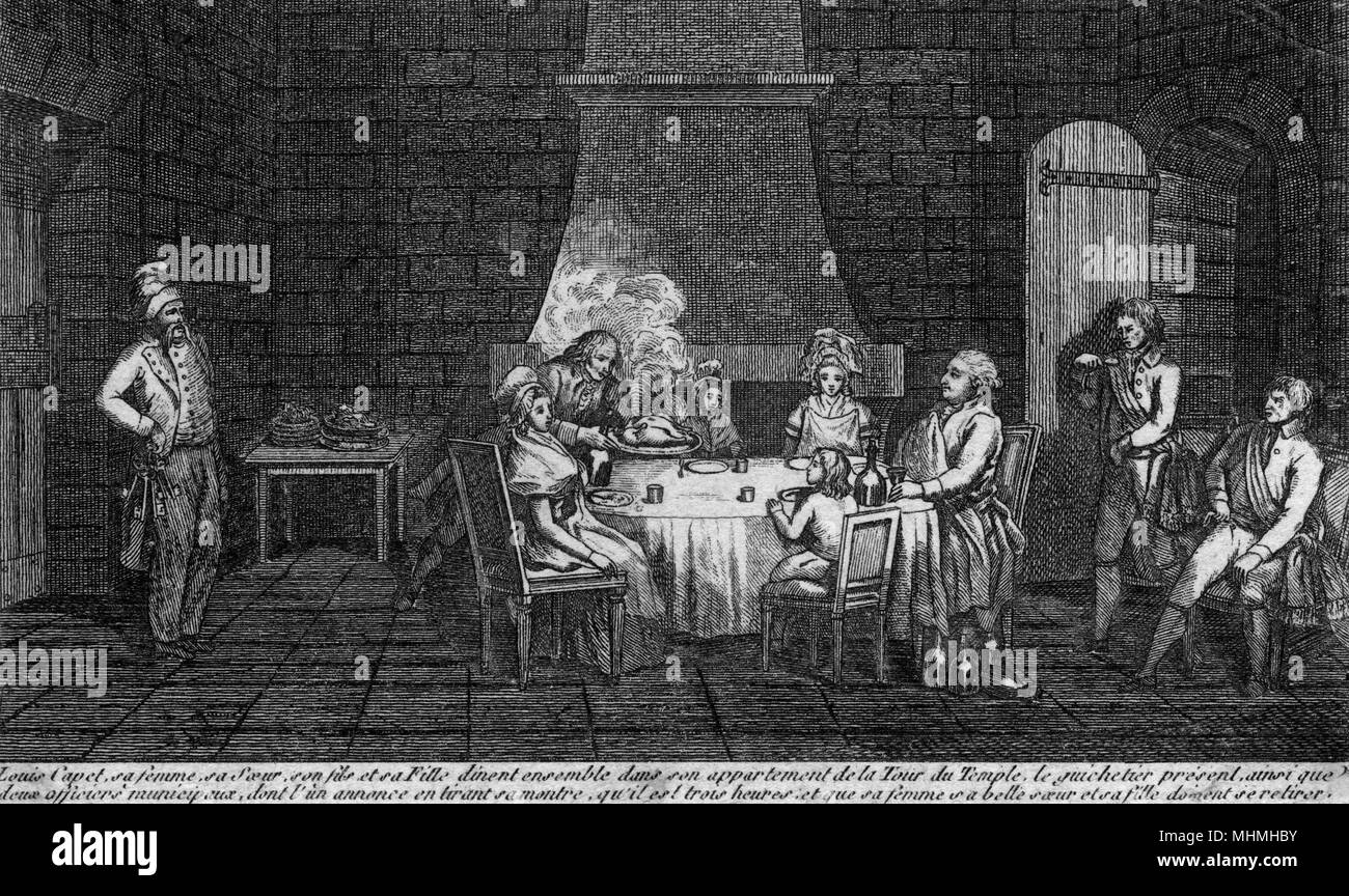 Louis Capet and his family, no longer treated as royals, dine in the Temple prison : their gaoler announces that it is 3pm and hiswife and sister and niece must leave his cell     Date: August 1792 - Stock Image