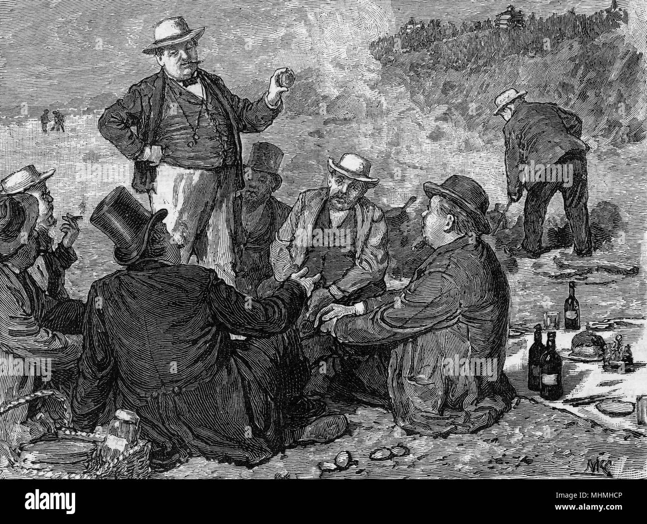 Gentlemen enjoy a clam bake on the coast of America       Date: 1883 - Stock Image