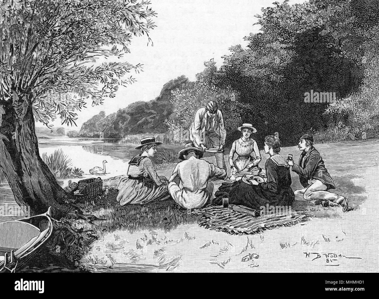 A group of young ladies and gentlemen picnic at Quarry Woods      Date: 1881 - Stock Image