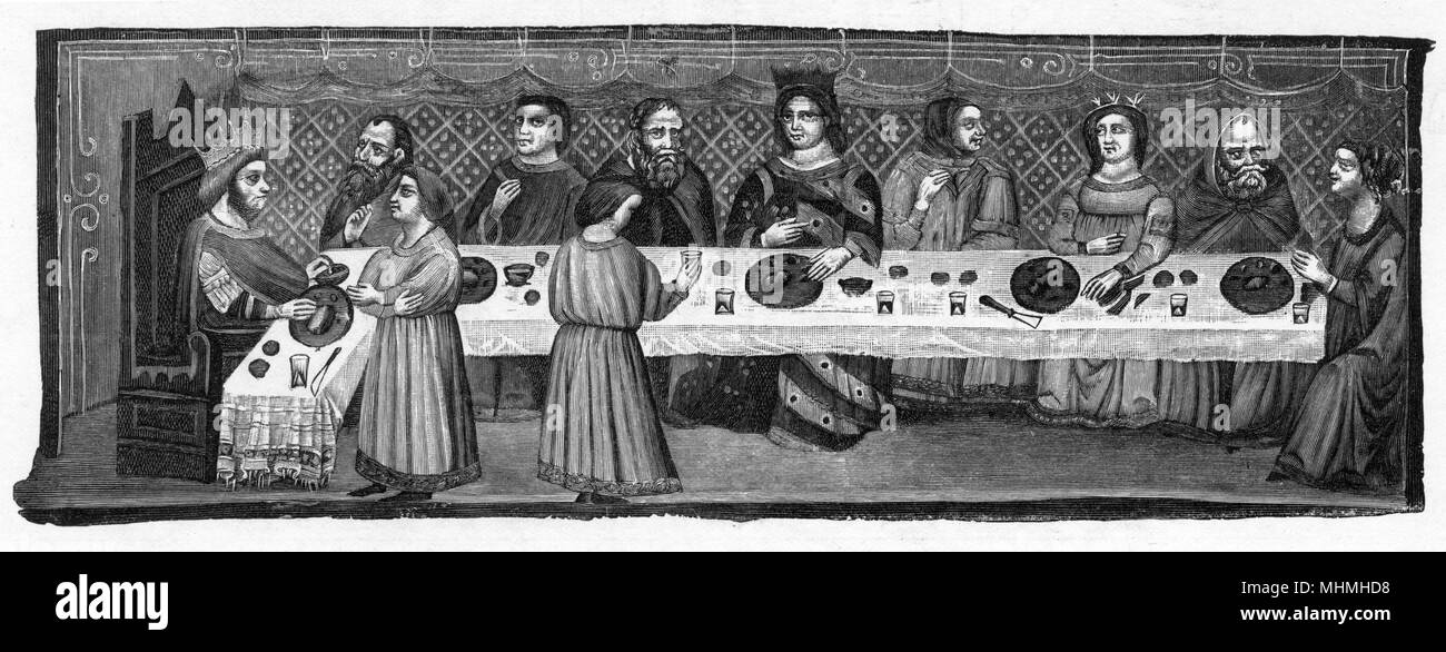 An early banquet        Date: 14th century - Stock Image
