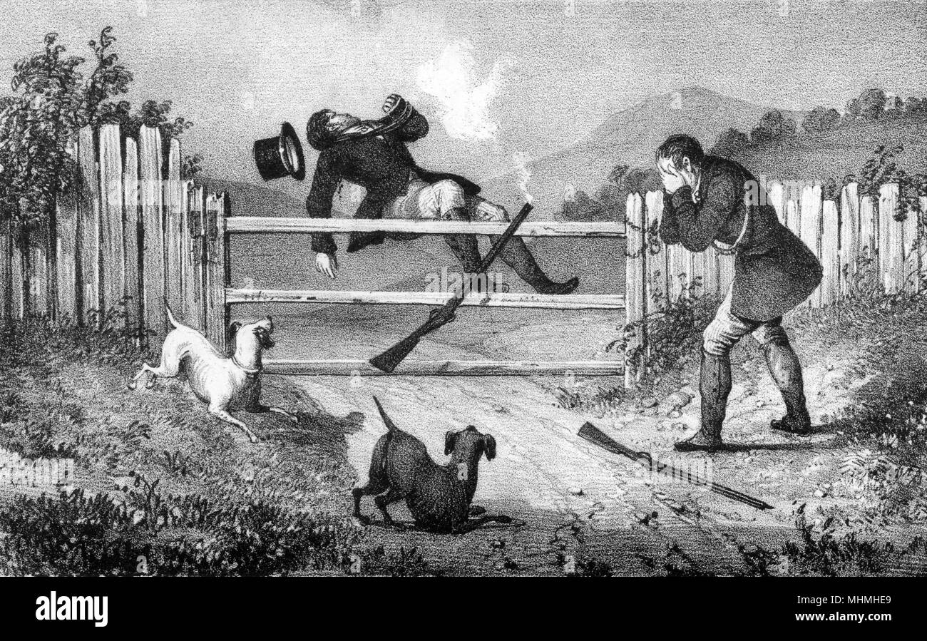A gentleman drops his gun as he climbs a gate, spattering both himself and his companion with shot      Date: 1836 - Stock Image