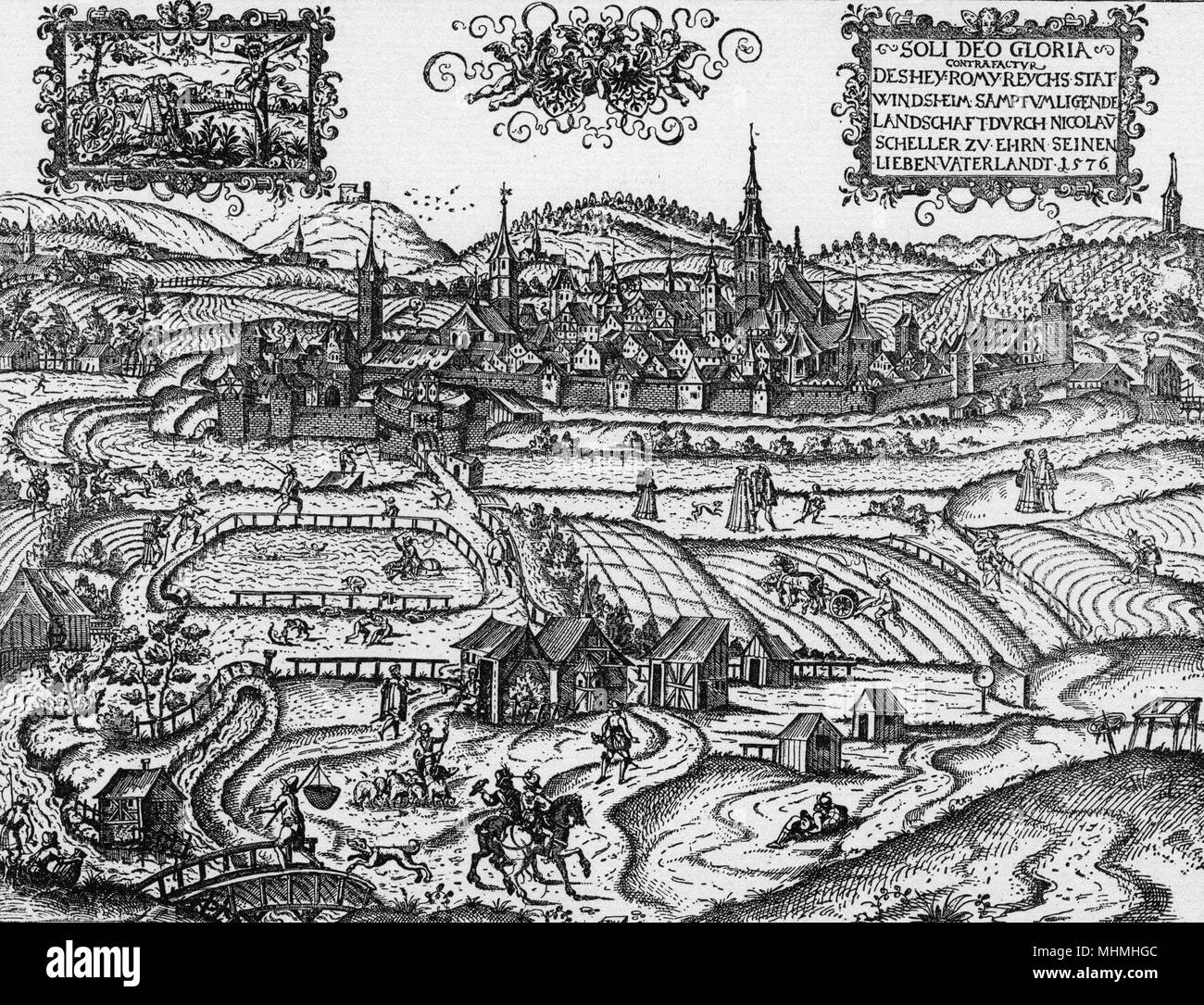 Windsheim, a typical German town       Date: 1576 - Stock Image