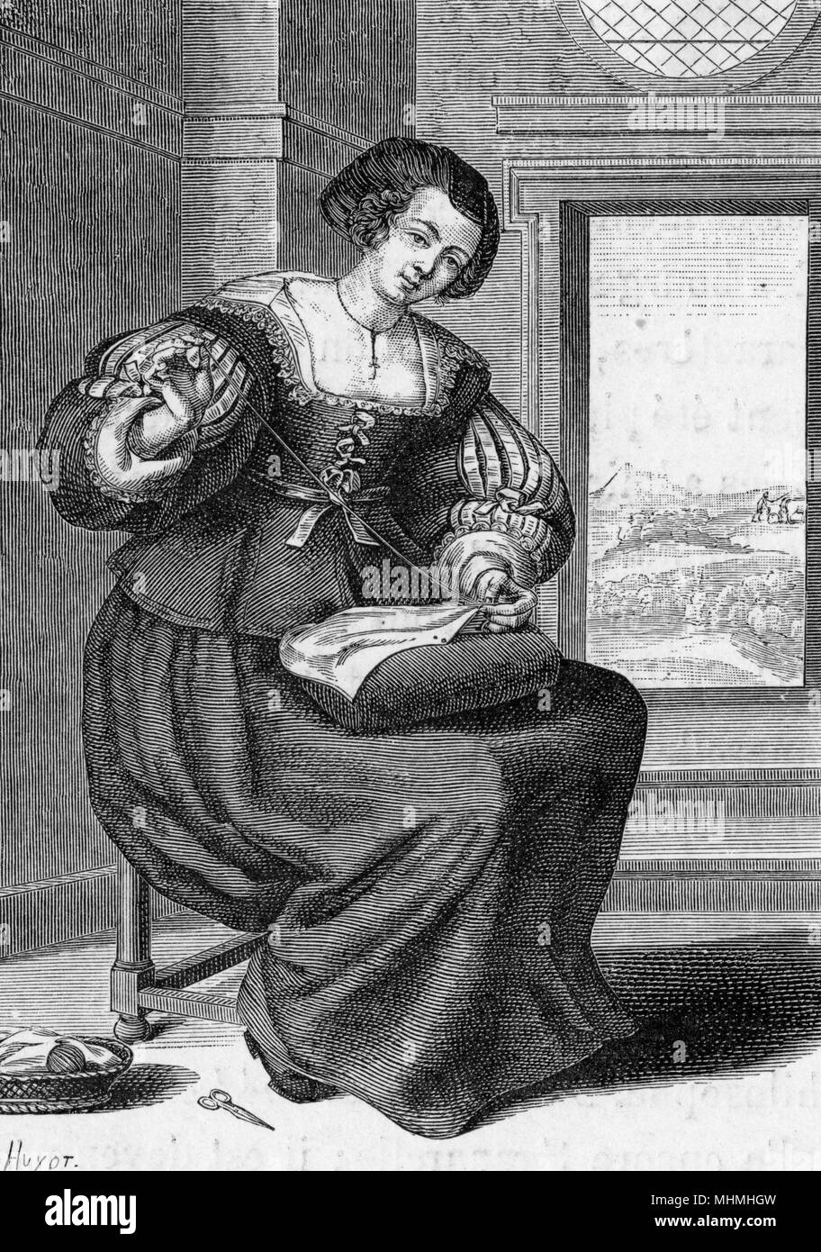 French 'bourgeoise' sewing        Date: 17th century - Stock Image