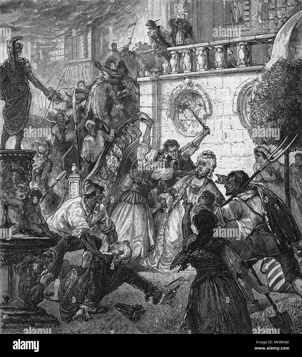 Peasants attack aristocrats in their chateau, murdering, looting and destroying       Date: circa 1791 - Stock Image