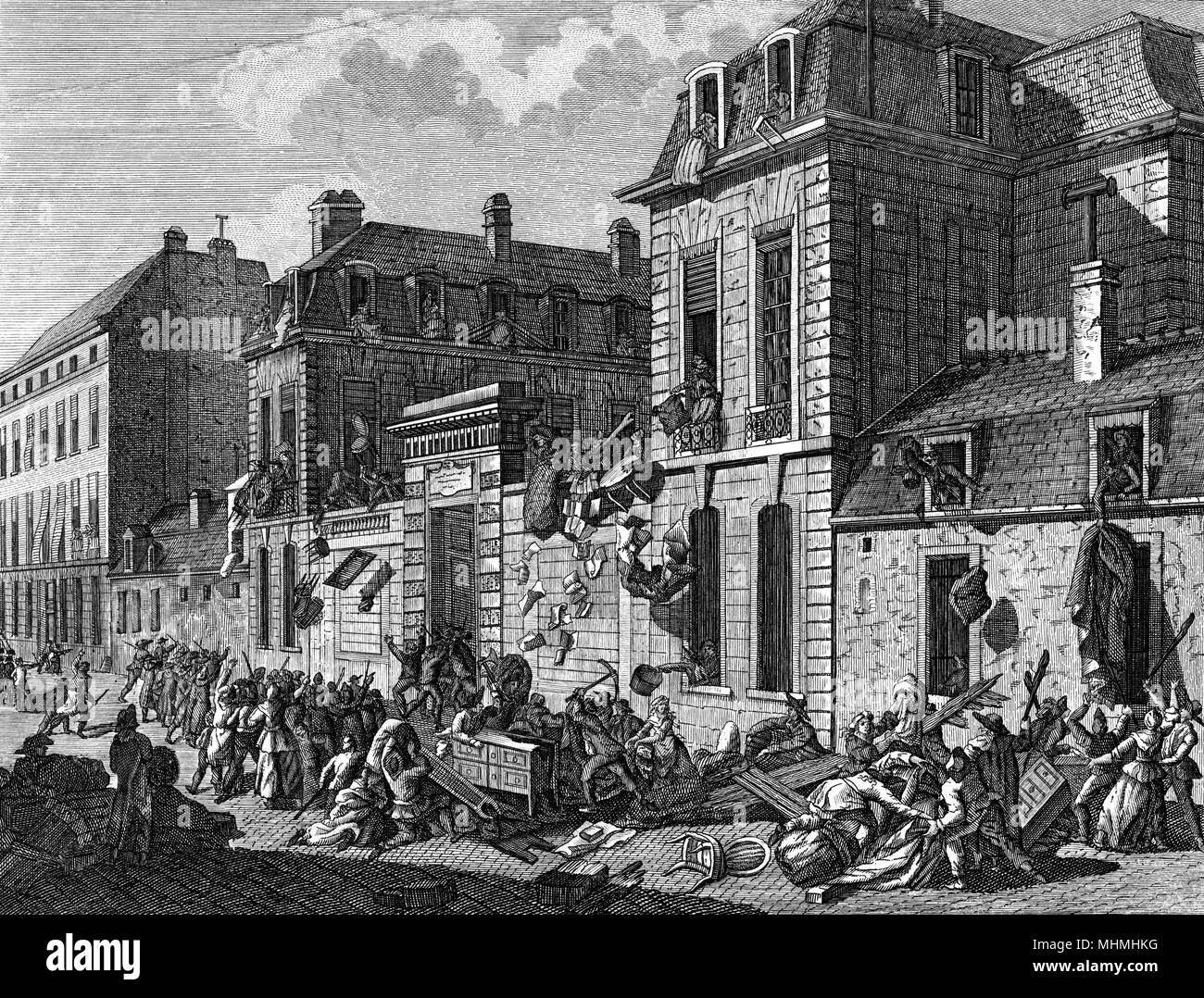The homes of aristocrats at Saint-Germain-en-Laye, on the outskirts of Paris, are attacked and plundered by revolutionary crowds      Date: 13 November 1790 - Stock Image
