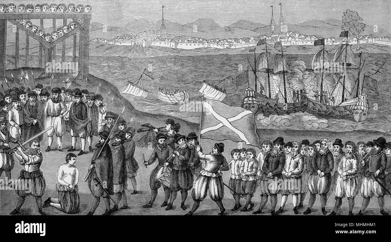 Execution of the celebrated pirate, Stoertebeck, and his seventy accomplices in Hamburg.      Date: 1402 - Stock Image