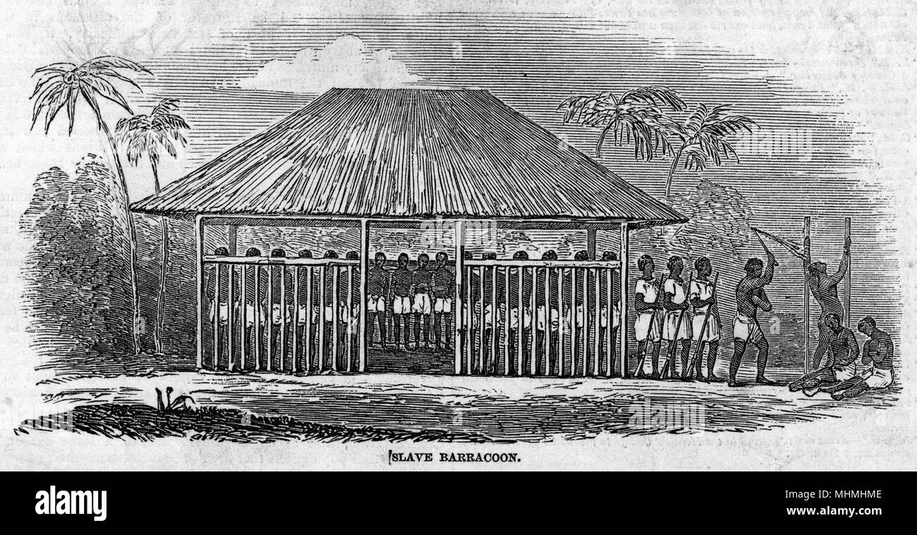 WEST AFRICA - A 'barracoon' in Sierre Leone, where slaves are held prior to shipment, for months on end, chained by neck and legs, frequently flogged      Date: 1849 - Stock Image
