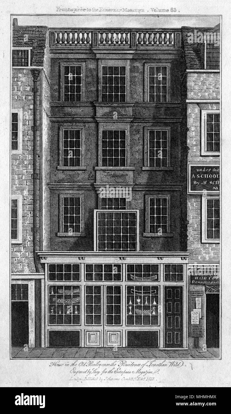 The former residence of Jonathan Wild; informer and receiver of stolen goods; in the Old Bailey, London.      Date: 1813 - Stock Image
