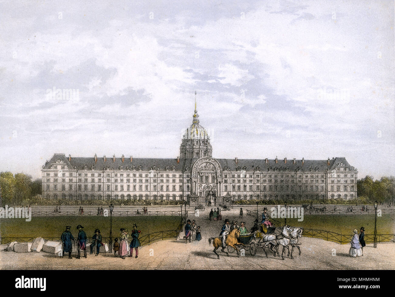 The Hotel des Invalides was constructed as a veterans' home and hospital      Date: circa 1850 - Stock Image