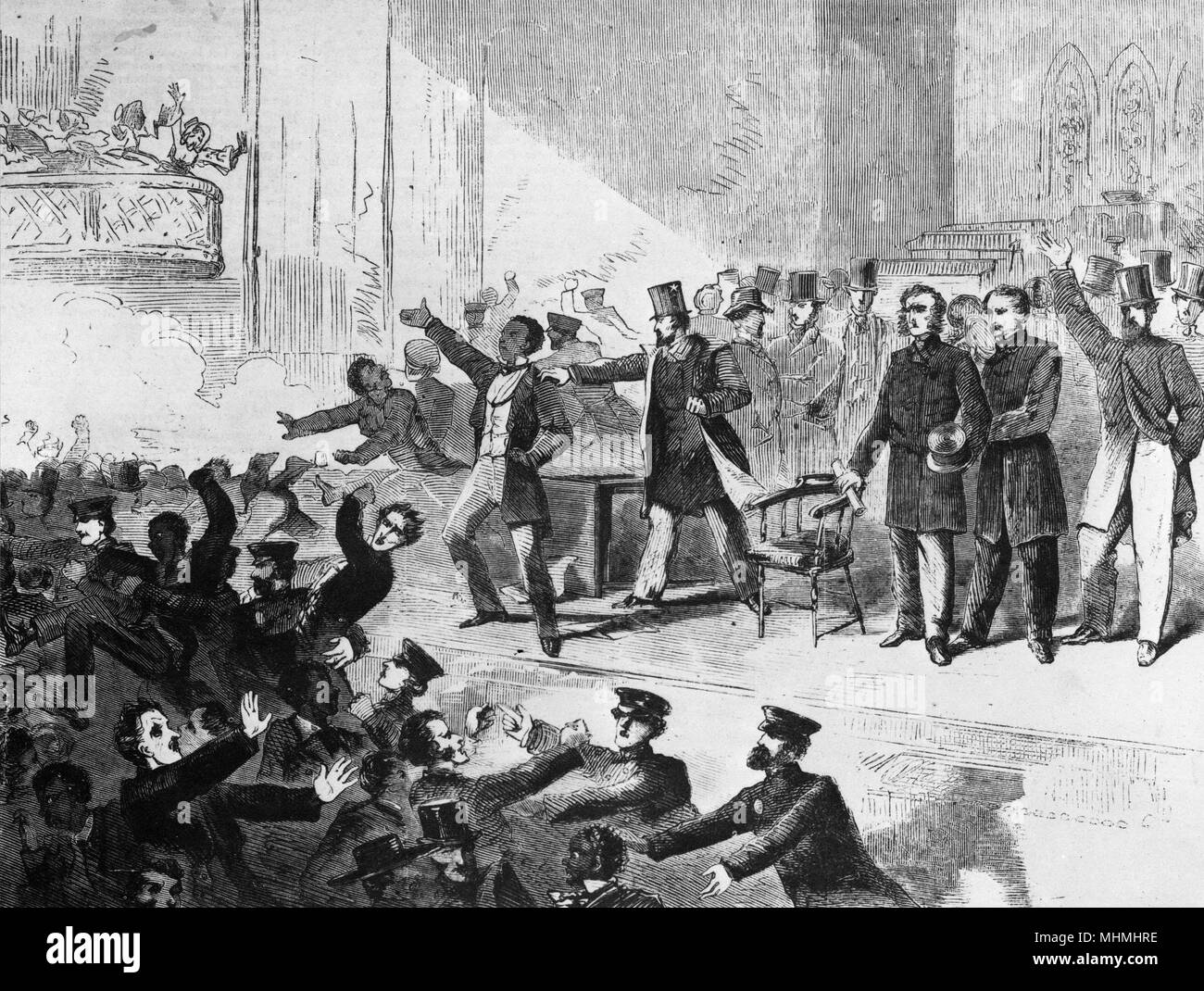 Expulsion of Negroes and Abolitionists from Tremont Temple, Boston, Massachusetts       Date: 3 December 1860 - Stock Image