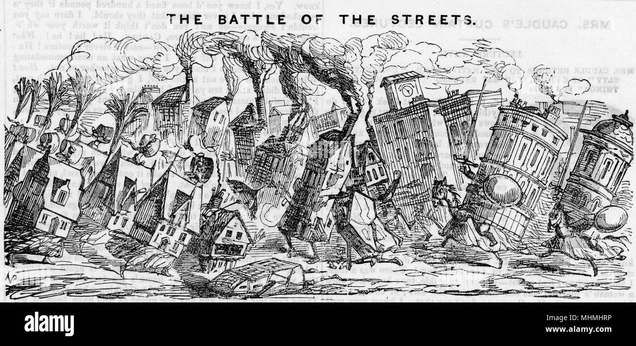 THE BATTLE OF THE STREETS The old, narrow streets defend themselves against the attack of the wider thoroughfares - 'We shall soon be without a lane or an alley in London'     Date: 1845 - Stock Image