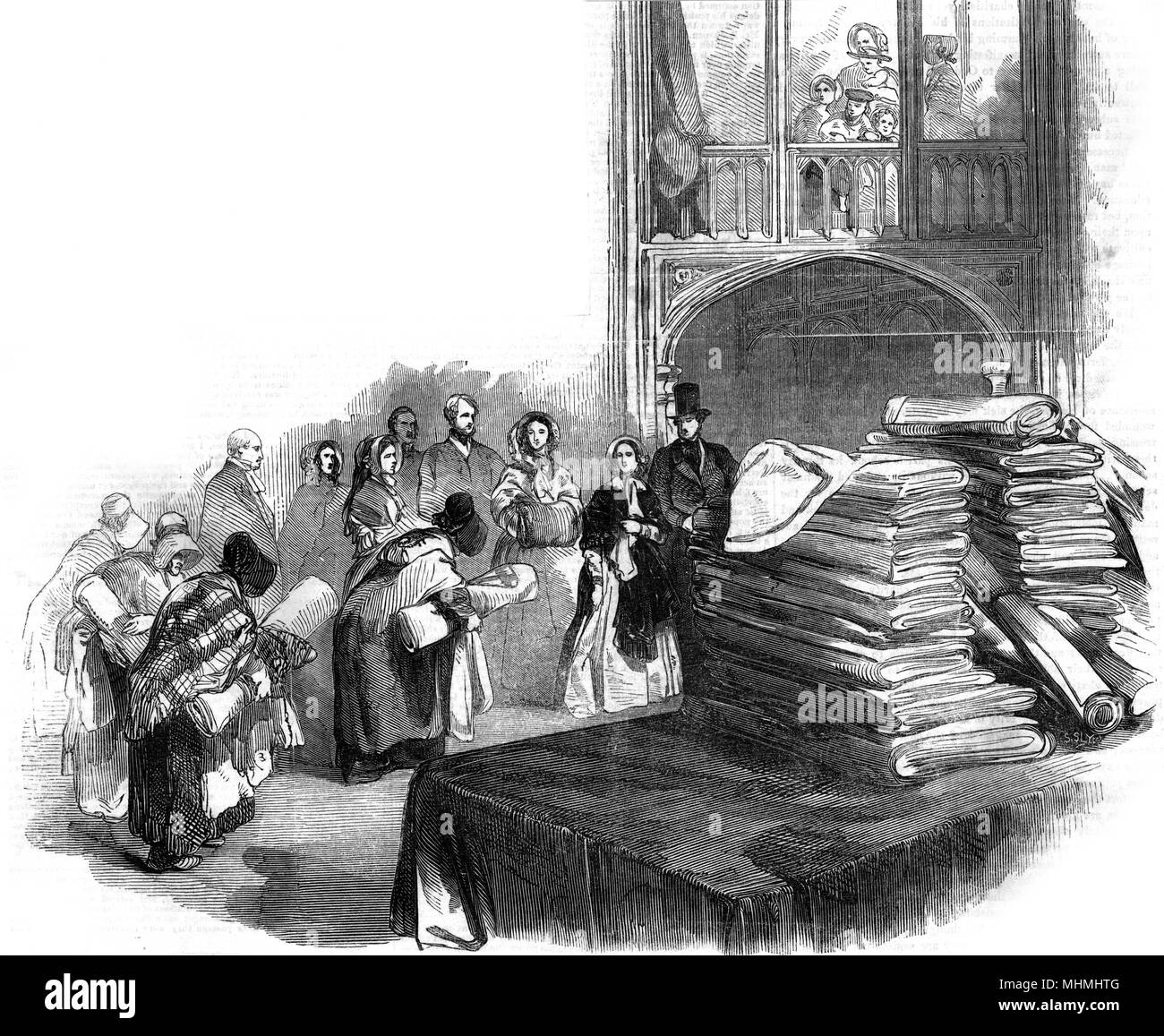 Distributing the Queen's Bounty to selected deserving poor, on New Year's Day      Date: 1846 - Stock Image
