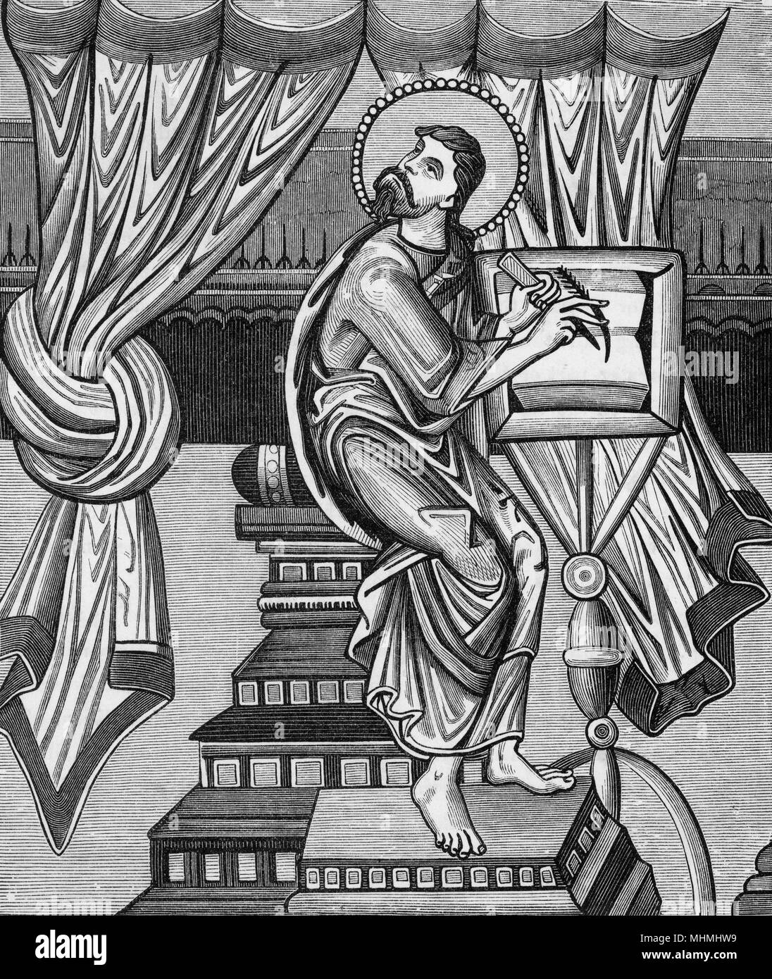 A medieval scholar looks to the heavens for inspiration       Date: 9th century - Stock Image