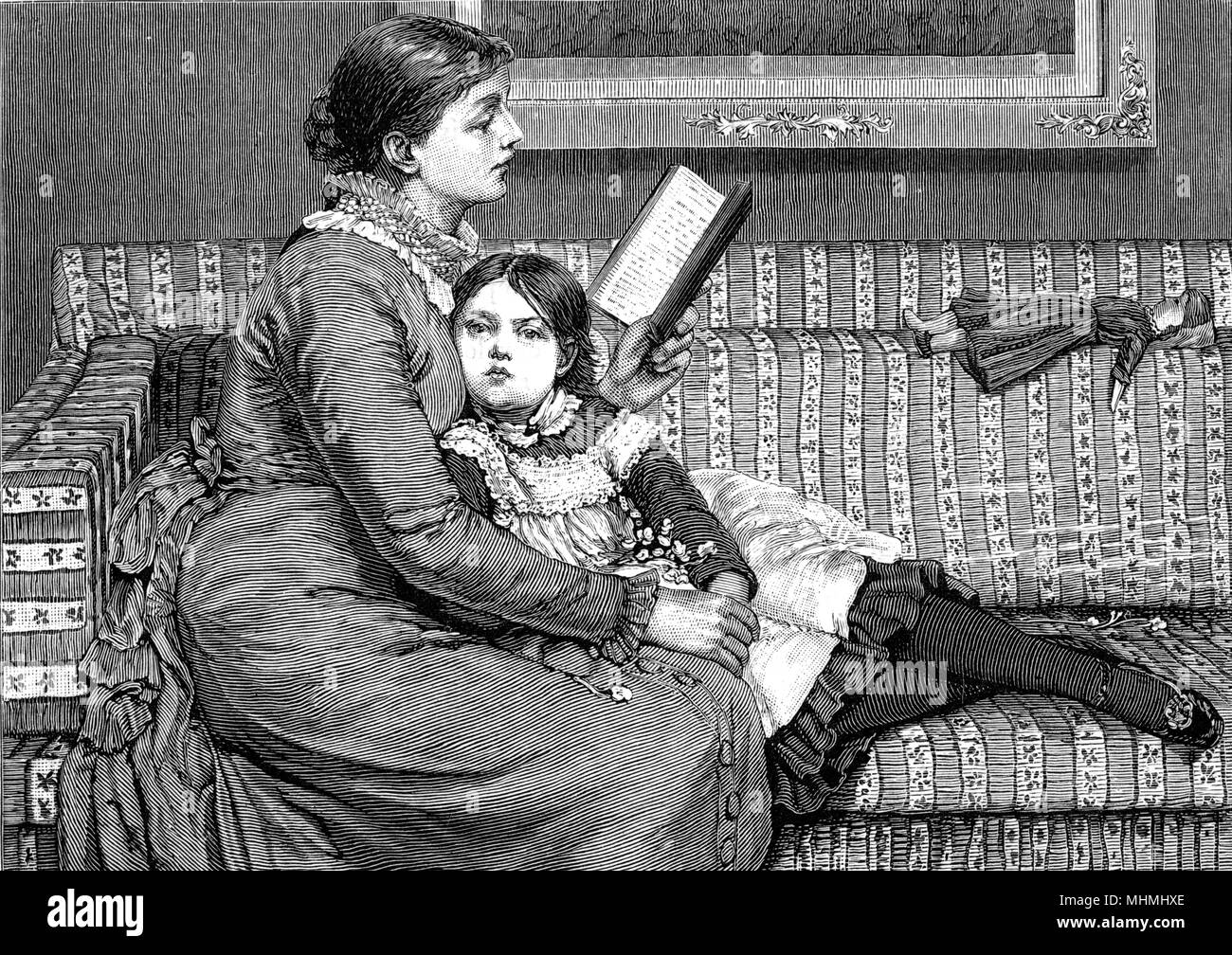 Alice in Wonderland - a mother reads to her daughter       Date: 1879 - Stock Image