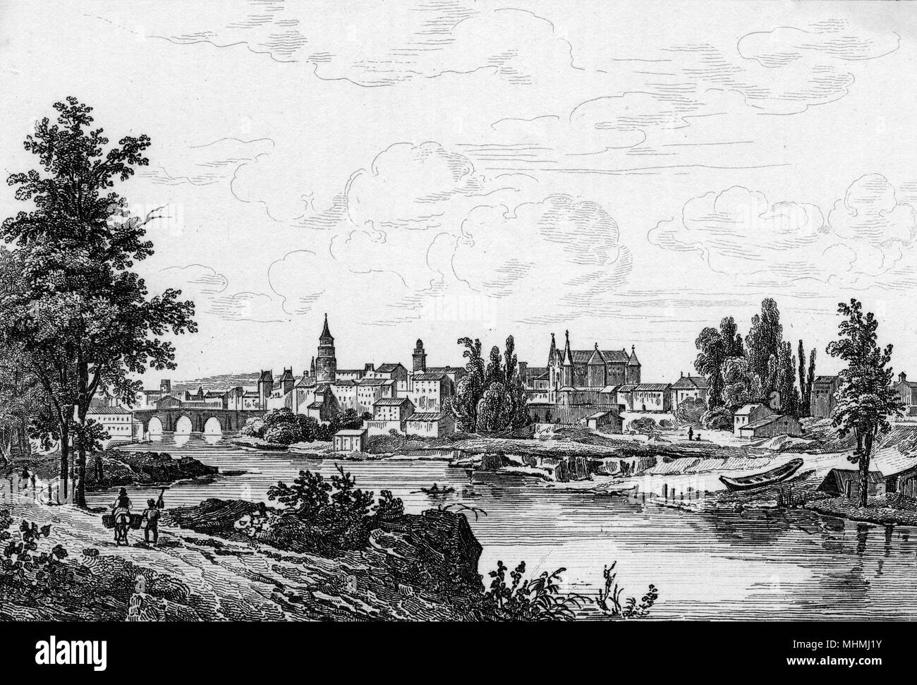 The River Tarn flows into the town of Montauban in south- central France.       Date: 1835 - Stock Image