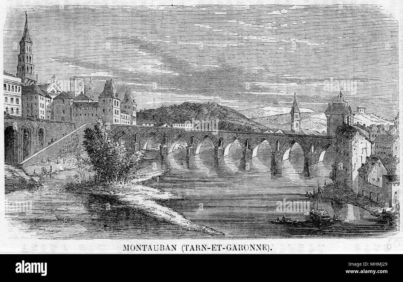 The bridge across the River Tarn in Montauban in south- central France.       Date: 1860 - Stock Image