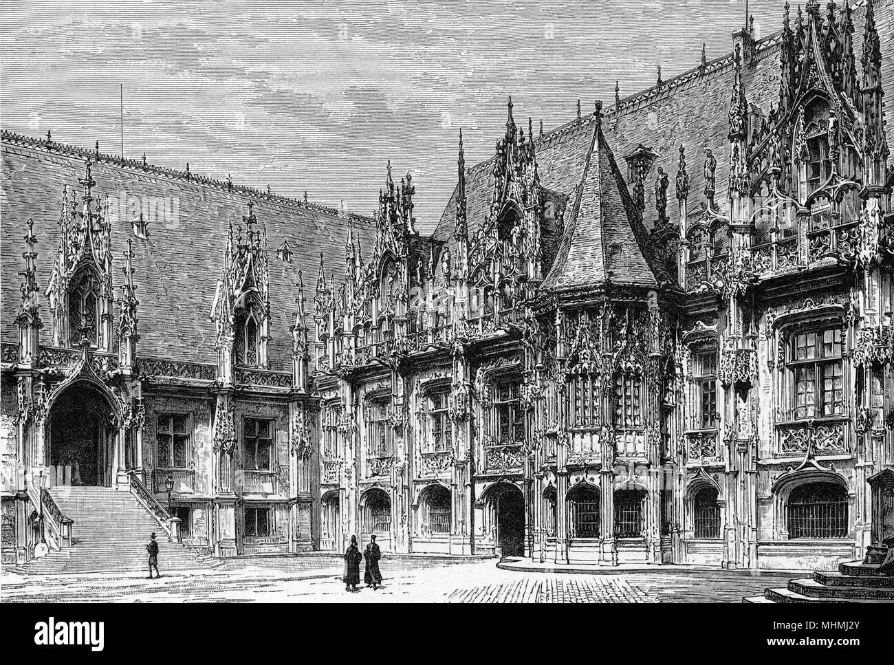 Rouen's Palace of Justice.        Date: circa 1875 - Stock Image
