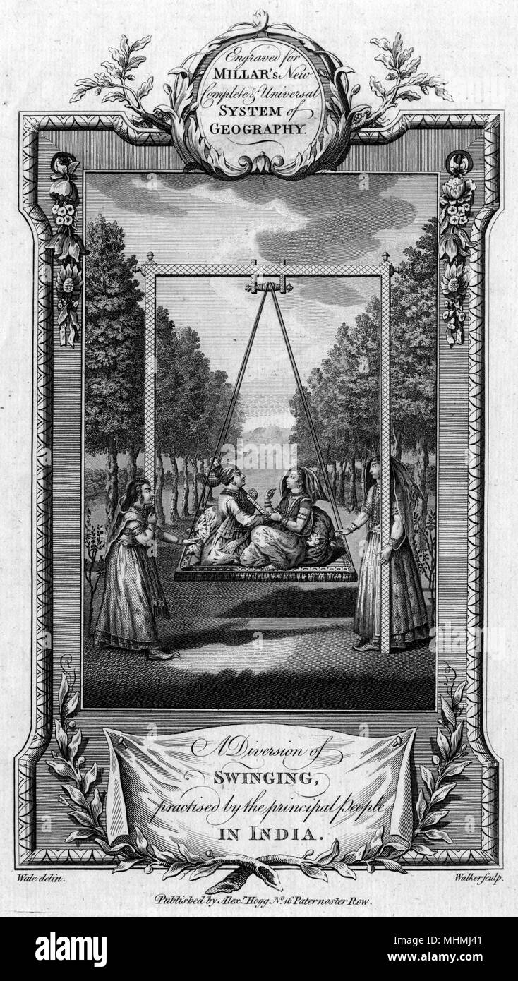 A Diversion of swinging practised by the principal people in India       Date: 18th century - Stock Image