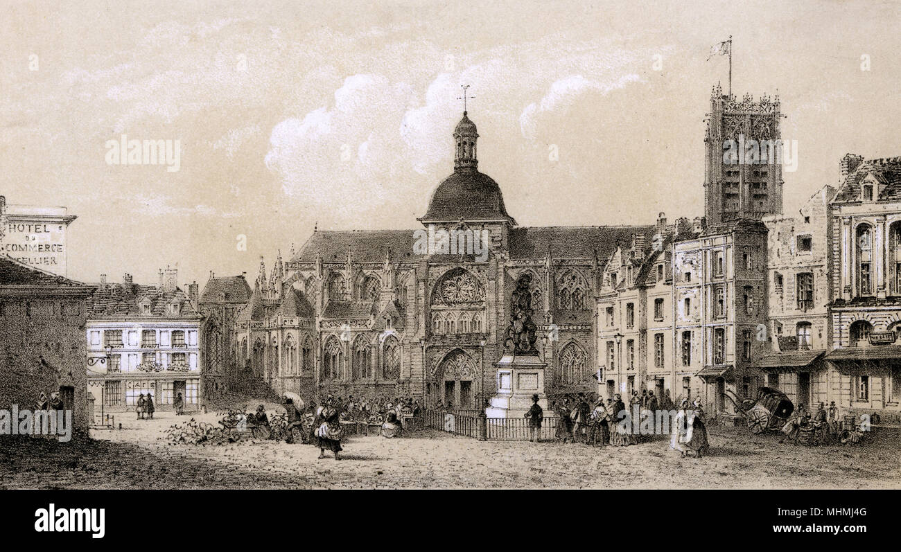 Place Duquesne, and eglise Saint-Jacques (note, too, the sign for the Hotel du Commerce)      Date: circa 1840 - Stock Image