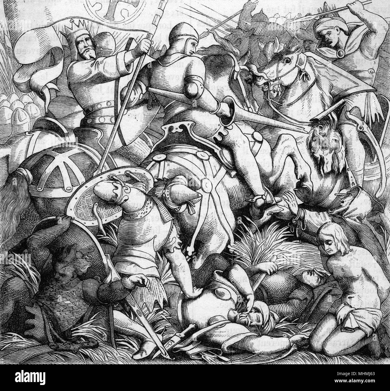 RONCEVAUX Roland and his companions are killed fighting the Moors       Date: 778 - Stock Image
