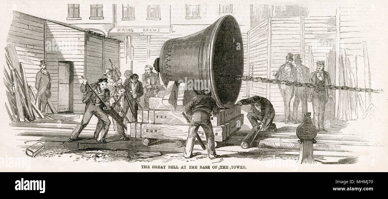 Officially known as the Great Bell but better known as Big Ben, at the base of the tower, being pull alone with make-shift logs.     Date: 1858 Stock Photo