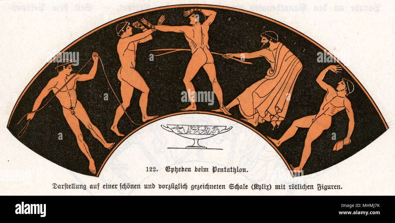 Young men competing in the pentathlon.       Date: ancient - Stock Image