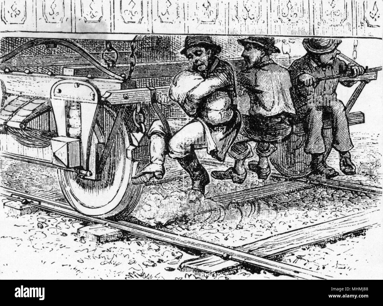 American Hoboes 'Riding the Rods'.       Date: 1882 - Stock Image