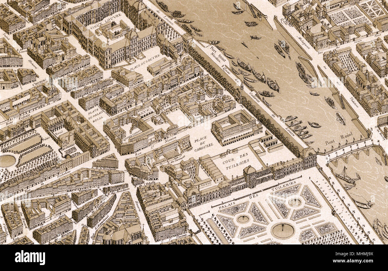 The area round the Louvre in the early 18th century - the Palais Royal to the left, the Vieux Louvre at the top, the Tuileries and its gardens in the foreground     Date: 1730 - Stock Image