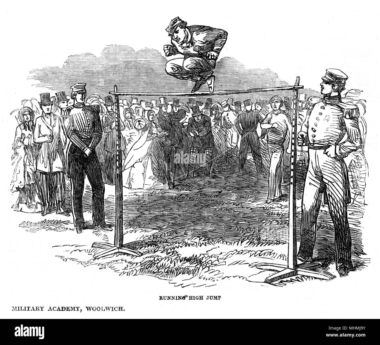 Athletic games at the Royal Military Academy, Woolwich : the Running High Jump       Date: 1850 - Stock Image