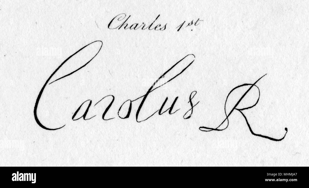 The autograph of Charles I, King of England. - Stock Image