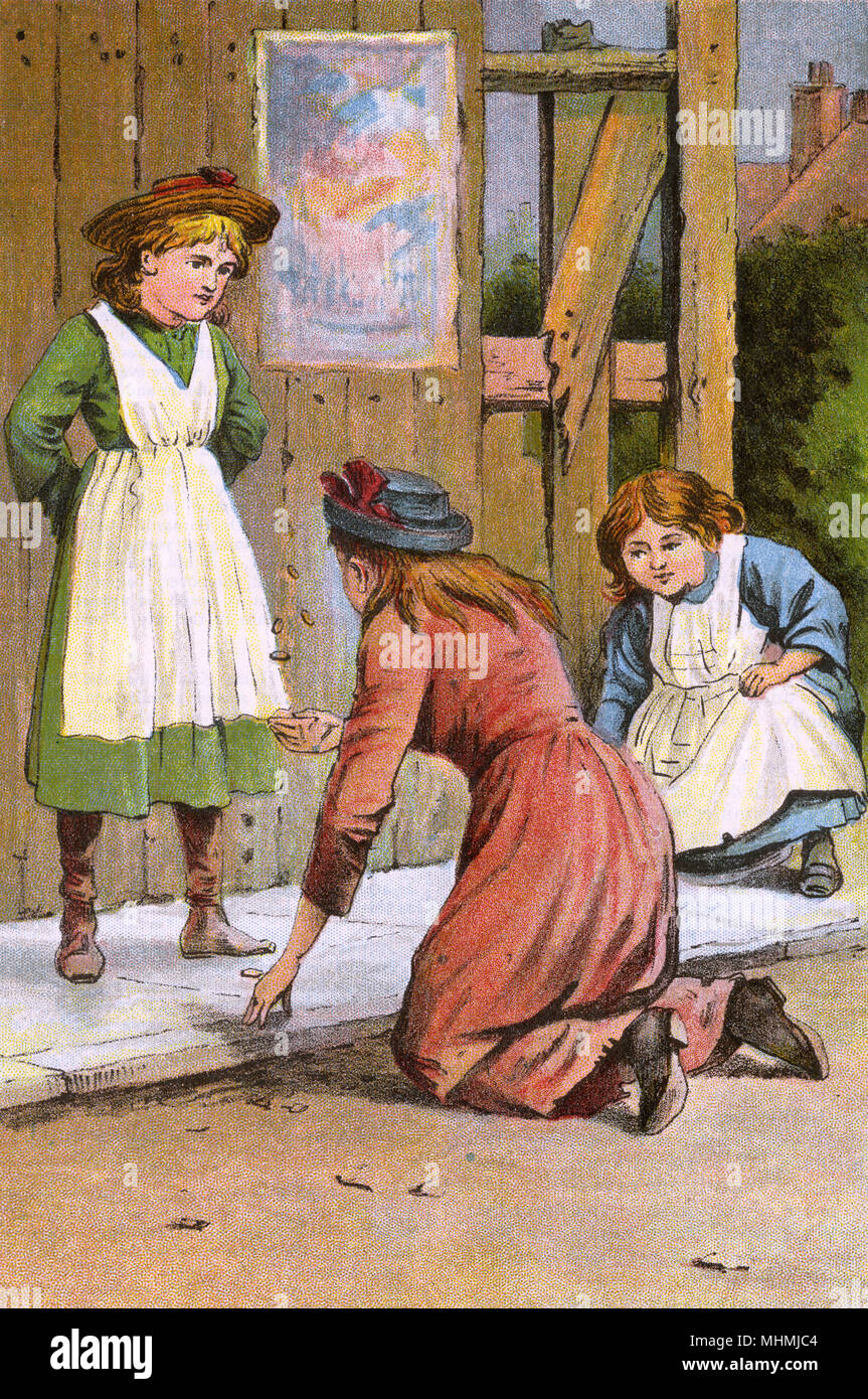 Three girls enjoy a game of five stones: the pebbles must be picked up individually while the rest are thrown in the air until all five pebbles are in the hand.     Date: late 19th century - Stock Image